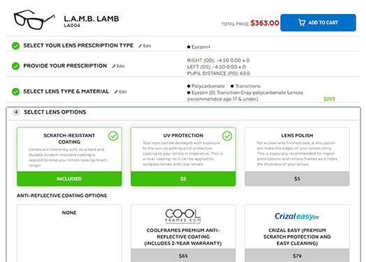 CoolFrames.com Lens Ordering Flow